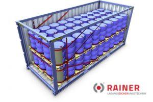 Container Lshing System mit Fassladung Ladungssicherung Rainer GmbH