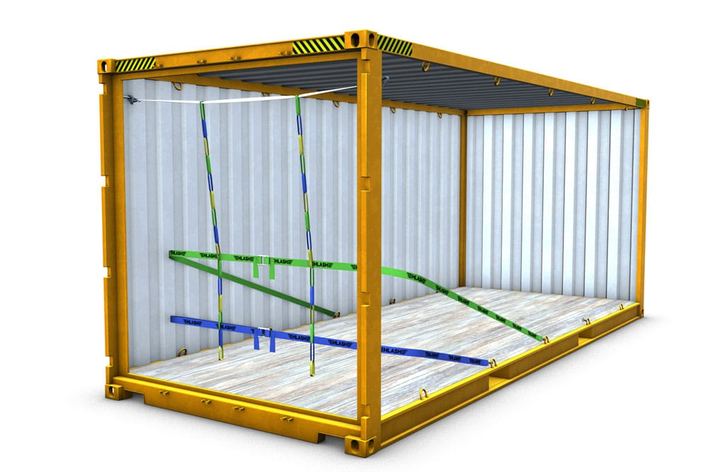 HLash RHS mit 2 Bändern Container Ladungssicherung