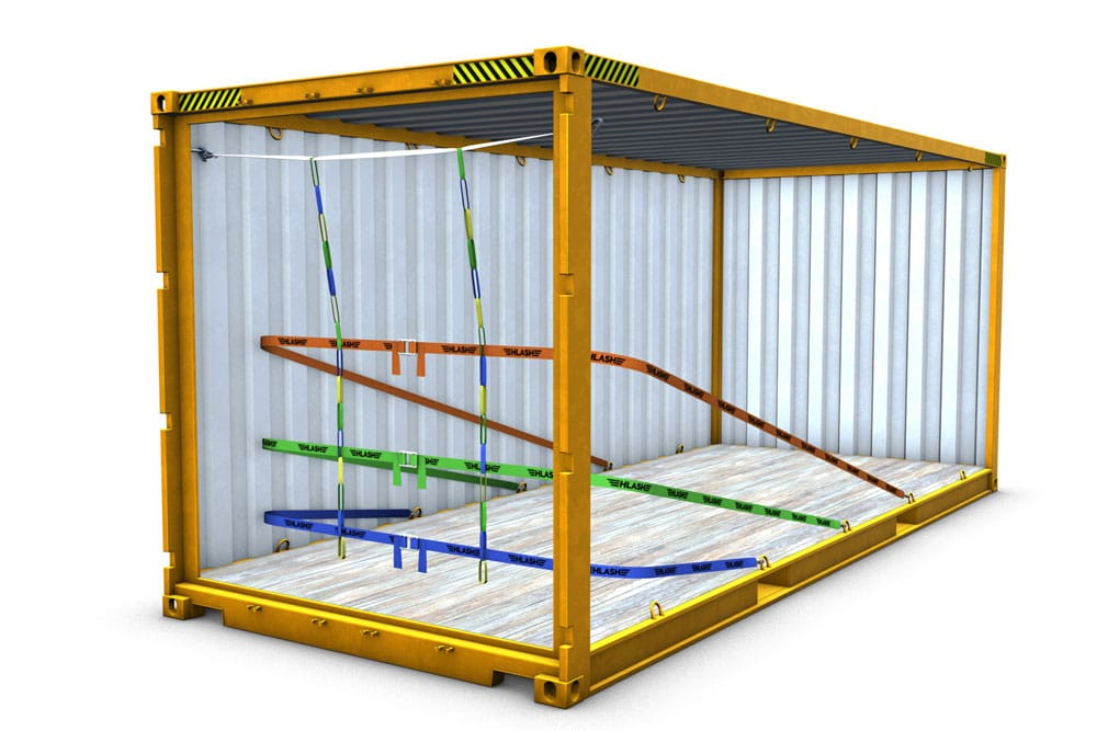 HLash RHS mit 3 Bändern Container Ladungssicherung