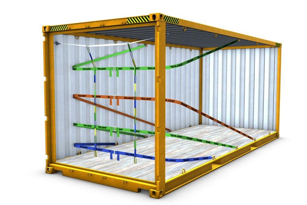 HLash RHS mit 4 Bändern Container Ladungssicherung